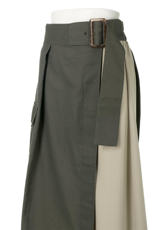 SidePocketBicolorPanelSkirtサイドポケット・切替ラップ風スカート大人カジュアルに最適な海外ファッションのothers(その他インポートアイテム)のボトムやスカート。2種類の生地を使用したバイカラーのロングスカート。硬めの生地とソフトな生地を組み合わせたアシメデザイン。/main-13