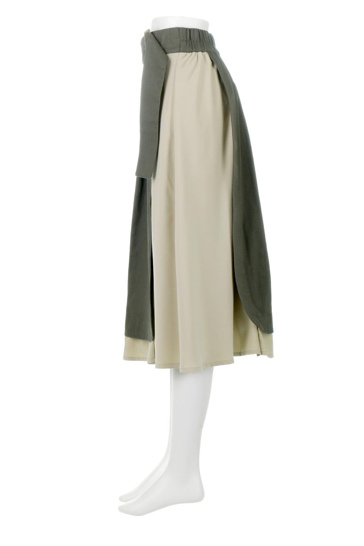 SidePocketBicolorPanelSkirtサイドポケット・切替ラップ風スカート大人カジュアルに最適な海外ファッションのothers(その他インポートアイテム)のボトムやスカート。2種類の生地を使用したバイカラーのロングスカート。硬めの生地とソフトな生地を組み合わせたアシメデザイン。/main-2