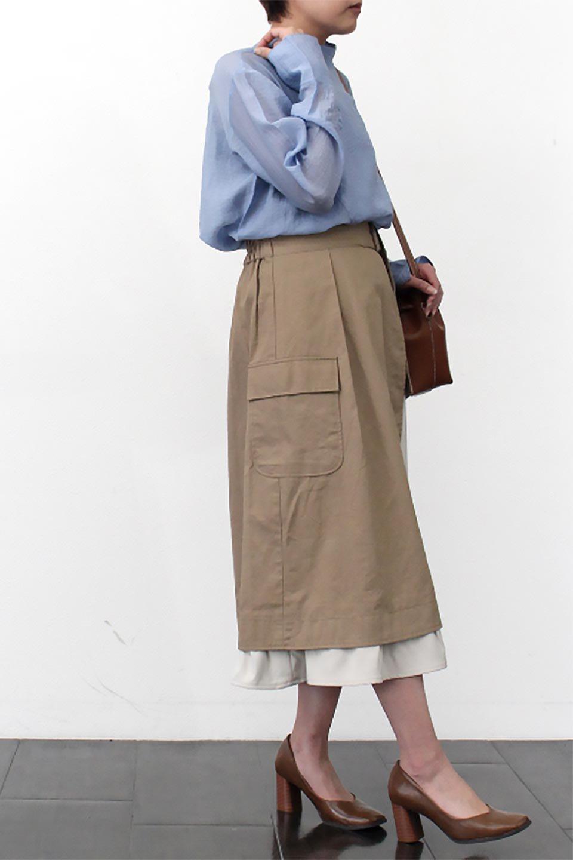 SidePocketBicolorPanelSkirtサイドポケット・切替ラップ風スカート大人カジュアルに最適な海外ファッションのothers(その他インポートアイテム)のボトムやスカート。2種類の生地を使用したバイカラーのロングスカート。硬めの生地とソフトな生地を組み合わせたアシメデザイン。/main-22