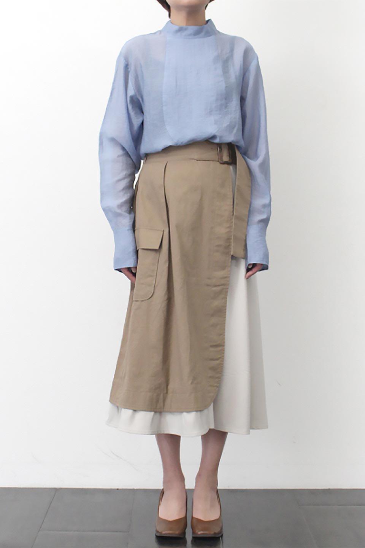 SidePocketBicolorPanelSkirtサイドポケット・切替ラップ風スカート大人カジュアルに最適な海外ファッションのothers(その他インポートアイテム)のボトムやスカート。2種類の生地を使用したバイカラーのロングスカート。硬めの生地とソフトな生地を組み合わせたアシメデザイン。/main-23