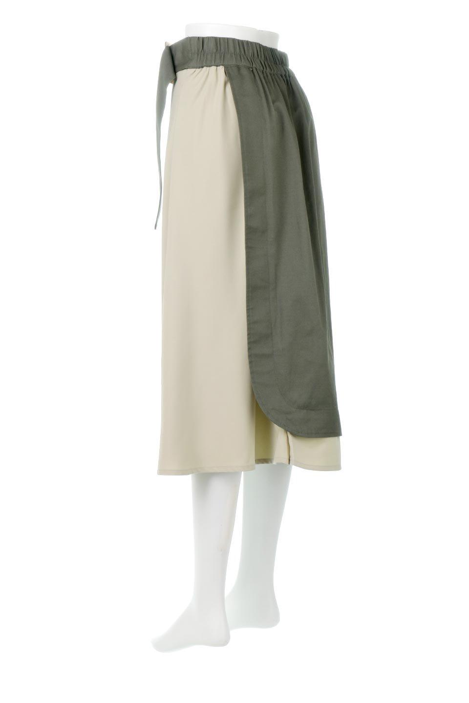 SidePocketBicolorPanelSkirtサイドポケット・切替ラップ風スカート大人カジュアルに最適な海外ファッションのothers(その他インポートアイテム)のボトムやスカート。2種類の生地を使用したバイカラーのロングスカート。硬めの生地とソフトな生地を組み合わせたアシメデザイン。/main-3