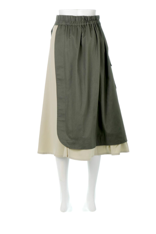 SidePocketBicolorPanelSkirtサイドポケット・切替ラップ風スカート大人カジュアルに最適な海外ファッションのothers(その他インポートアイテム)のボトムやスカート。2種類の生地を使用したバイカラーのロングスカート。硬めの生地とソフトな生地を組み合わせたアシメデザイン。/main-4