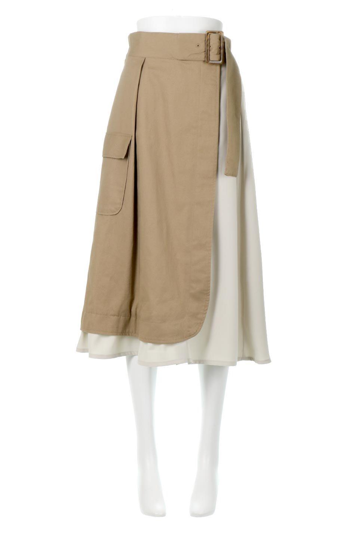 SidePocketBicolorPanelSkirtサイドポケット・切替ラップ風スカート大人カジュアルに最適な海外ファッションのothers(その他インポートアイテム)のボトムやスカート。2種類の生地を使用したバイカラーのロングスカート。硬めの生地とソフトな生地を組み合わせたアシメデザイン。/main-5