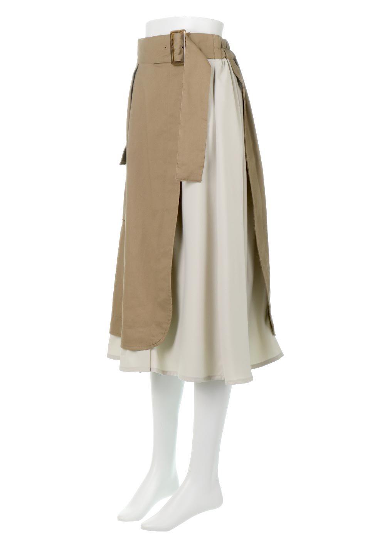 SidePocketBicolorPanelSkirtサイドポケット・切替ラップ風スカート大人カジュアルに最適な海外ファッションのothers(その他インポートアイテム)のボトムやスカート。2種類の生地を使用したバイカラーのロングスカート。硬めの生地とソフトな生地を組み合わせたアシメデザイン。/main-6