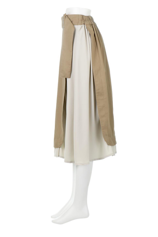 SidePocketBicolorPanelSkirtサイドポケット・切替ラップ風スカート大人カジュアルに最適な海外ファッションのothers(その他インポートアイテム)のボトムやスカート。2種類の生地を使用したバイカラーのロングスカート。硬めの生地とソフトな生地を組み合わせたアシメデザイン。/main-7