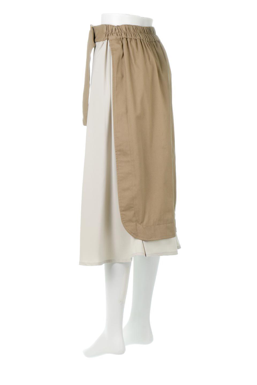 SidePocketBicolorPanelSkirtサイドポケット・切替ラップ風スカート大人カジュアルに最適な海外ファッションのothers(その他インポートアイテム)のボトムやスカート。2種類の生地を使用したバイカラーのロングスカート。硬めの生地とソフトな生地を組み合わせたアシメデザイン。/main-8