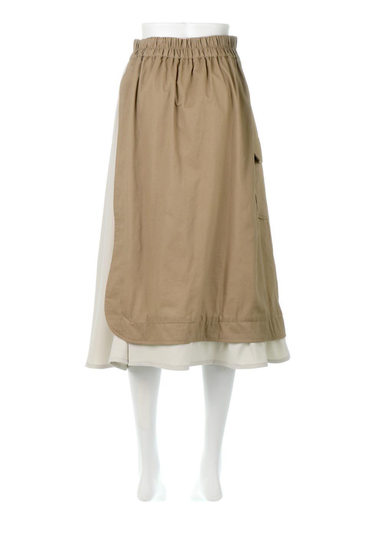 SidePocketBicolorPanelSkirtサイドポケット・切替ラップ風スカート大人カジュアルに最適な海外ファッションのothers(その他インポートアイテム)のボトムやスカート。2種類の生地を使用したバイカラーのロングスカート。硬めの生地とソフトな生地を組み合わせたアシメデザイン。/main-9
