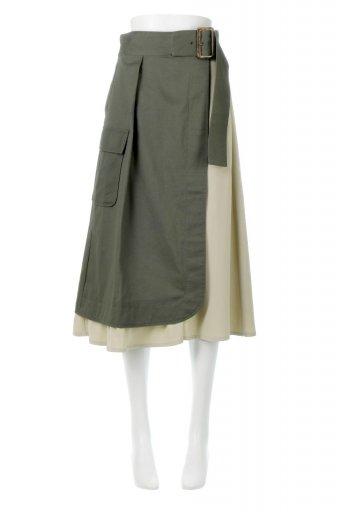 海外ファッションや大人カジュアルに最適なインポートセレクトアイテムのSide Pocket Bicolor Panel Skirt サイドポケット・切替ラップ風スカート