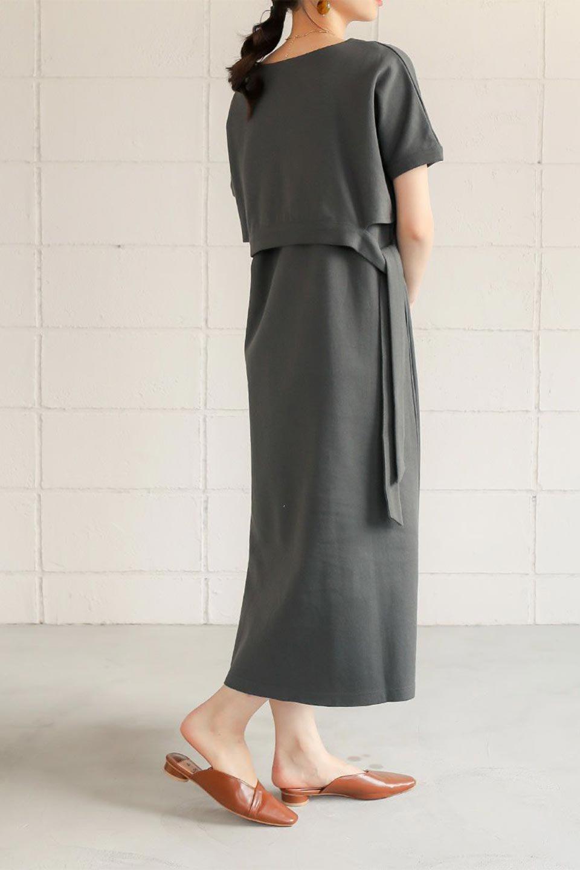 SideRibbonFauxLayeredSwatDressサイドリボン・レイヤードワンピース大人カジュアルに最適な海外ファッションのothers(その他インポートアイテム)のワンピースやマキシワンピース。トップスを重ねて着ているようなデザインのレイヤード(重ね着)風ワンピース。程よい厚みのあるカットソー素材で、からだのあたりが出にくく1枚で着こなしが完成するのもうれしいポイント。/main-21