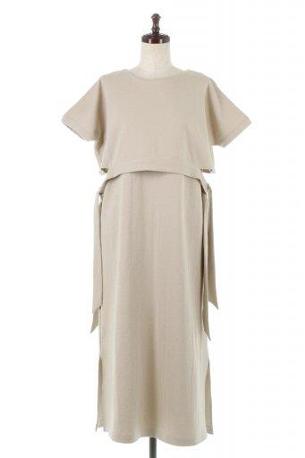 海外ファッションや大人カジュアルに最適なインポートセレクトアイテムのSide Ribbon Faux Layered Swat Dress サイドリボン・レイヤードワンピース