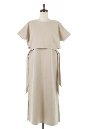 Side Ribbon Faux Layered Swat Dress サイドリボン・レイヤードワンピース / 大人カジュアルに最適な海外ファッションが得意な福島市のセレクトショップbloom