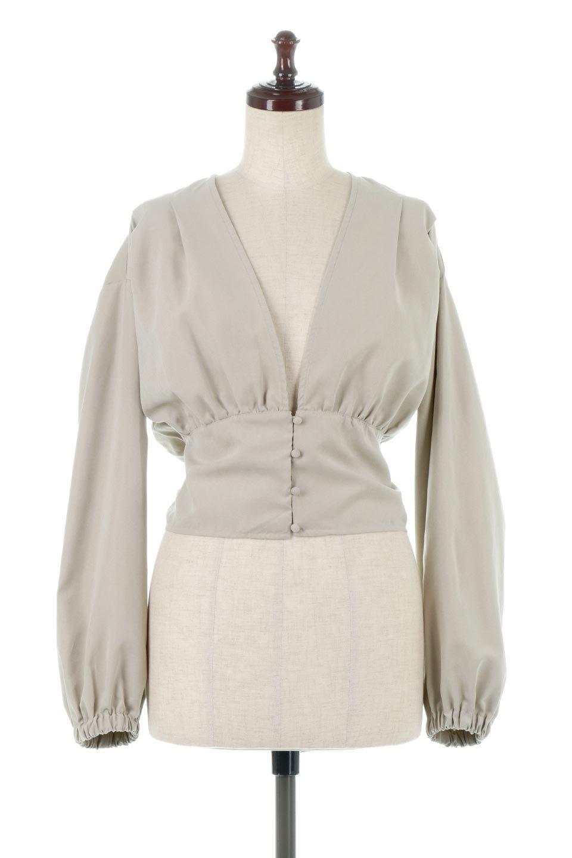 WideWaistRibbonTieBlouseワイドウエスト・バックリボンブラウス大人カジュアルに最適な海外ファッションのothers(その他インポートアイテム)のトップスやシャツ・ブラウス。桃の表面のようなピーチスキン加工の長袖ブラウス。ショート丈とワイドなウエストバンドでシルエットにメリハリができ、細見え効果のあるブラウスです。/main-5