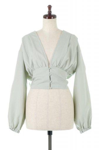 海外ファッションや大人カジュアルに最適なインポートセレクトアイテムのWide Waist Ribbon Tie Blouse ワイドウエスト・バックリボンブラウス