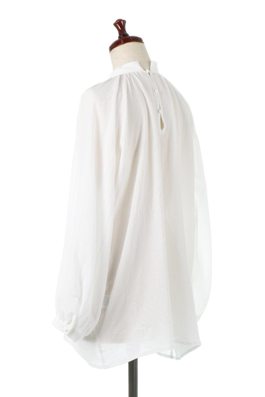 GatheredneckSheerBlouseギャザーネック・長袖シアーブラウス大人カジュアルに最適な海外ファッションのothers(その他インポートアイテム)のトップスやシャツ・ブラウス。今季大人気の透け感のあるシアー素材を使用した長袖ブラウス。ゆったり目のシルエットはそのまま着ても、ブラウジングしても楽しめます。/main-3