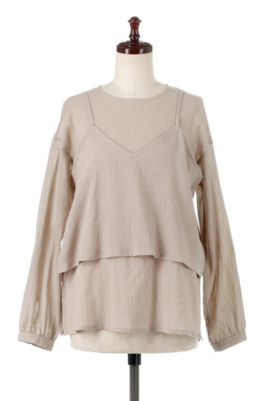 TexturedSheerCami&Blouseテクスチャード・シアーキャミブラウスセット大人カジュアルに最適な海外ファッションのothers(その他インポートアイテム)のトップスやシャツ・ブラウス。若干透け感のある長袖ブラウスと、共生地のキャミソールセット。さらりとした素材感の生地は透け感があり、これからの季節にピッタリのアイテム。