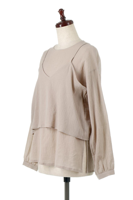 TexturedSheerCami&Blouseテクスチャード・シアーキャミブラウスセット大人カジュアルに最適な海外ファッションのothers(その他インポートアイテム)のトップスやシャツ・ブラウス。若干透け感のある長袖ブラウスと、共生地のキャミソールセット。さらりとした素材感の生地は透け感があり、これからの季節にピッタリのアイテム。/main-1