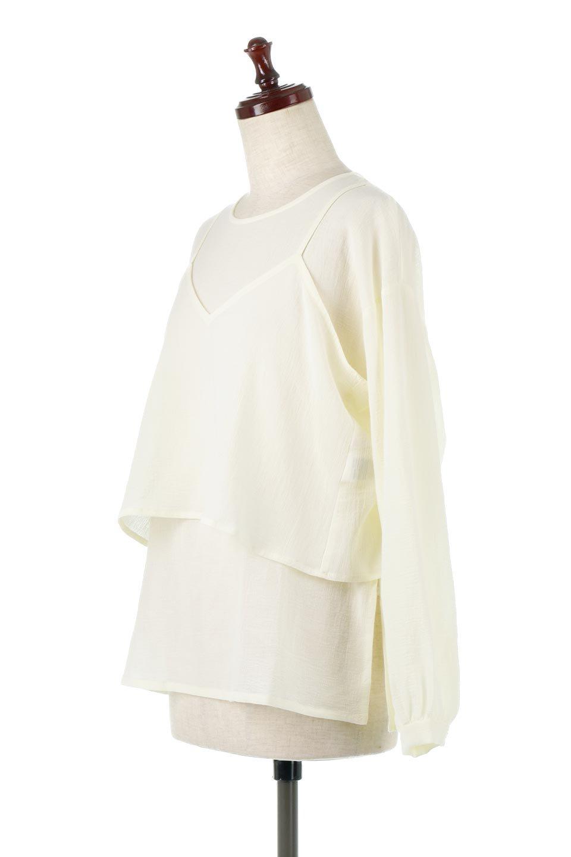 TexturedSheerCami&Blouseテクスチャード・シアーキャミブラウスセット大人カジュアルに最適な海外ファッションのothers(その他インポートアイテム)のトップスやシャツ・ブラウス。若干透け感のある長袖ブラウスと、共生地のキャミソールセット。さらりとした素材感の生地は透け感があり、これからの季節にピッタリのアイテム。/main-11