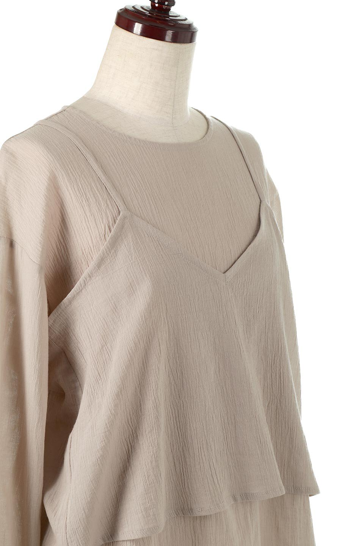 TexturedSheerCami&Blouseテクスチャード・シアーキャミブラウスセット大人カジュアルに最適な海外ファッションのothers(その他インポートアイテム)のトップスやシャツ・ブラウス。若干透け感のある長袖ブラウスと、共生地のキャミソールセット。さらりとした素材感の生地は透け感があり、これからの季節にピッタリのアイテム。/main-15