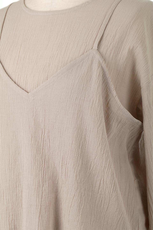TexturedSheerCami&Blouseテクスチャード・シアーキャミブラウスセット大人カジュアルに最適な海外ファッションのothers(その他インポートアイテム)のトップスやシャツ・ブラウス。若干透け感のある長袖ブラウスと、共生地のキャミソールセット。さらりとした素材感の生地は透け感があり、これからの季節にピッタリのアイテム。/main-16
