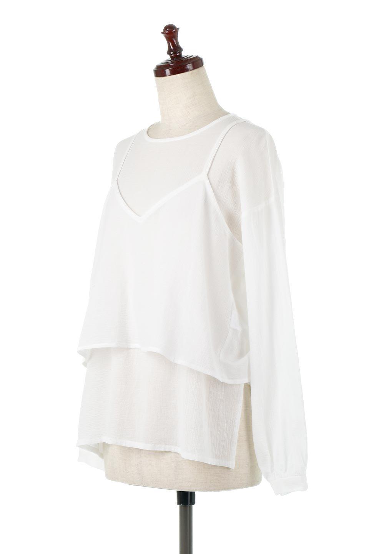 TexturedSheerCami&Blouseテクスチャード・シアーキャミブラウスセット大人カジュアルに最適な海外ファッションのothers(その他インポートアイテム)のトップスやシャツ・ブラウス。若干透け感のある長袖ブラウスと、共生地のキャミソールセット。さらりとした素材感の生地は透け感があり、これからの季節にピッタリのアイテム。/main-6