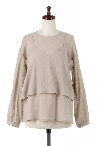 海外ファッションや大人カジュアルに最適なインポートセレクトアイテムのTextured Sheer Cami & Blouse テクスチャード・シアーキャミブラウスセット