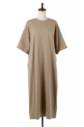 海外ファッションや大人カジュアルに最適なインポートセレクトアイテムのDeep Side Slit Dress サイドスリット・コットンワンピース