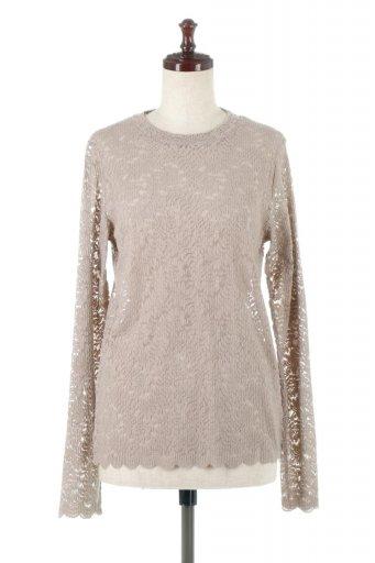 Sheered Lace Long Sleeve Top 総レース・ロングTシャツ / 大人カジュアルに最適な海外ファッションが得意な福島市のセレクトショップbloom