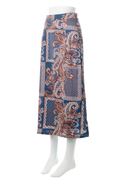 PaisleyPatternedPencilSkirtペイズリー柄・Iラインスカート大人カジュアルに最適な海外ファッションのothers(その他インポートアイテム)のボトムやスカート。ペイズリーの総柄プリントが可愛いIラインのペンシルスカート。テロテロ感が人気の差展示を使用し、カジュアルにも上品にもコーデできる便利スカートです。/main-1