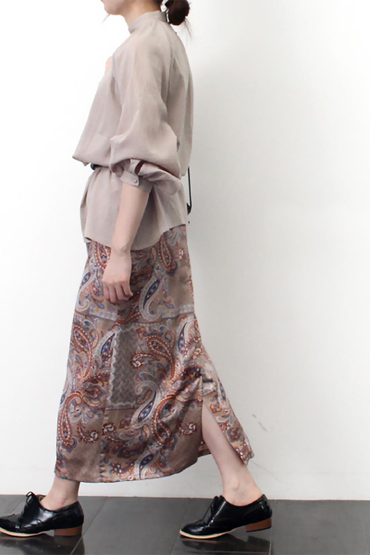 PaisleyPatternedPencilSkirtペイズリー柄・Iラインスカート大人カジュアルに最適な海外ファッションのothers(その他インポートアイテム)のボトムやスカート。ペイズリーの総柄プリントが可愛いIラインのペンシルスカート。テロテロ感が人気の差展示を使用し、カジュアルにも上品にもコーデできる便利スカートです。/main-19