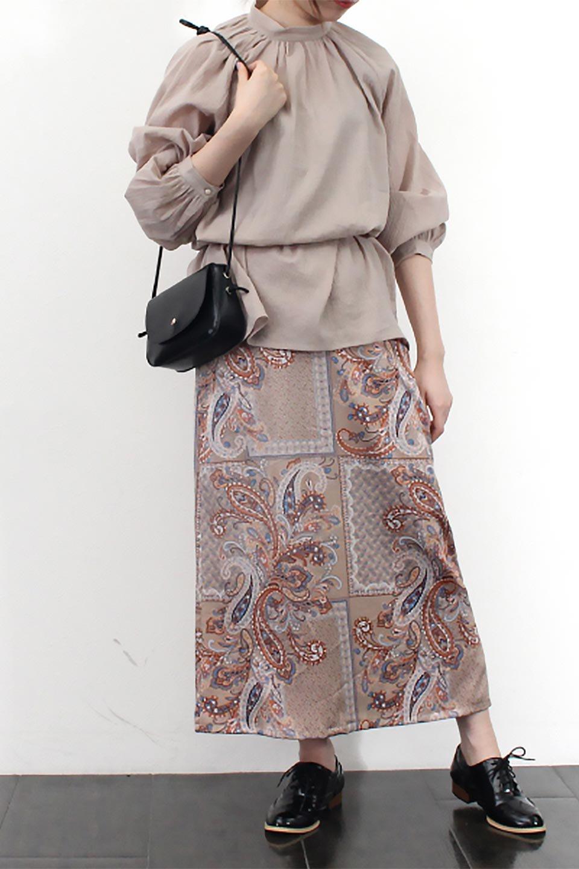 PaisleyPatternedPencilSkirtペイズリー柄・Iラインスカート大人カジュアルに最適な海外ファッションのothers(その他インポートアイテム)のボトムやスカート。ペイズリーの総柄プリントが可愛いIラインのペンシルスカート。テロテロ感が人気の差展示を使用し、カジュアルにも上品にもコーデできる便利スカートです。/main-20