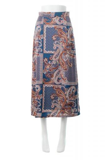 海外ファッションや大人カジュアルに最適なインポートセレクトアイテムのPaisley Patterned Pencil Skirt ペイズリー柄・Iラインスカート