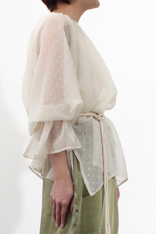 CandySleeveDottedSheerBlouseキャンディースリーブ・シアーブラウス大人カジュアルに最適な海外ファッションのothers(その他インポートアイテム)のトップスやカットソー。今季大人気のシアー素材を使用したギャザーブラウス。各所にギャザーを多用したデザインでふんわりとした女性らしさを醸し出してくれます。/main-27