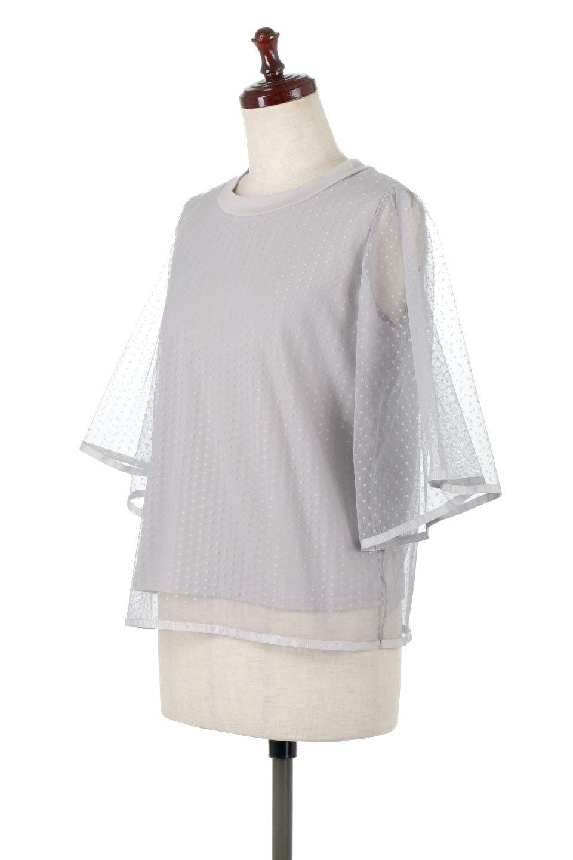 SheerDotSleeveLayeredBlouseドットチュールスリーブ・ドッキングブラウス大人カジュアルに最適な海外ファッションのothers(その他インポートアイテム)のトップスやシャツ・ブラウス。人気のシアー素材を使用した袖が可愛いフェイクレイヤードのブラウス。袖のドット柄が上品な雰囲気で女性らしいおーディネートが楽しめます。/main-11