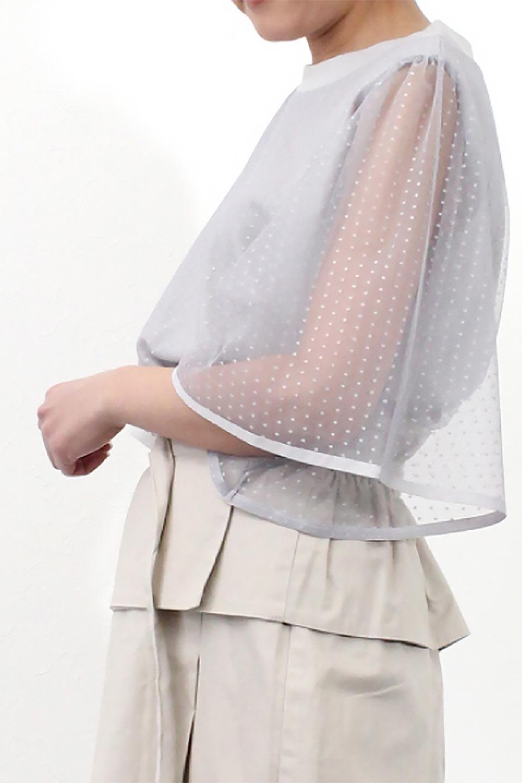 SheerDotSleeveLayeredBlouseドットチュールスリーブ・ドッキングブラウス大人カジュアルに最適な海外ファッションのothers(その他インポートアイテム)のトップスやシャツ・ブラウス。人気のシアー素材を使用した袖が可愛いフェイクレイヤードのブラウス。袖のドット柄が上品な雰囲気で女性らしいおーディネートが楽しめます。/main-31
