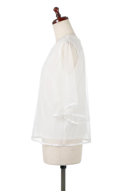 SheerDotSleeveLayeredBlouseドットチュールスリーブ・ドッキングブラウス大人カジュアルに最適な海外ファッションのothers(その他インポートアイテム)のトップスやシャツ・ブラウス。人気のシアー素材を使用した袖が可愛いフェイクレイヤードのブラウス。袖のドット柄が上品な雰囲気で女性らしいおーディネートが楽しめます。/main-7