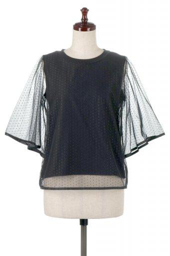 海外ファッションや大人カジュアルに最適なインポートセレクトアイテムのSheer Dot Sleeve Layered Blouse ドットチュールスリーブ・ドッキングブラウス