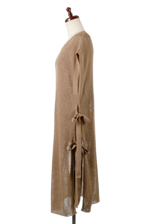 SummerKnitLongVest麻タッチニット・ロングベスト大人カジュアルに最適な海外ファッションのothers(その他インポートアイテム)のトップスやニット・セーター。麻タッチのニット素材が涼し気なロングベスト。ドロップショルダーとサイドのスリットやリボン、可愛いデザインで重ね着も楽しくなります。/main-12