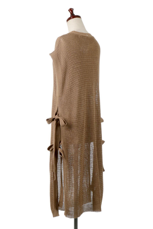 SummerKnitLongVest麻タッチニット・ロングベスト大人カジュアルに最適な海外ファッションのothers(その他インポートアイテム)のトップスやニット・セーター。麻タッチのニット素材が涼し気なロングベスト。ドロップショルダーとサイドのスリットやリボン、可愛いデザインで重ね着も楽しくなります。/main-13