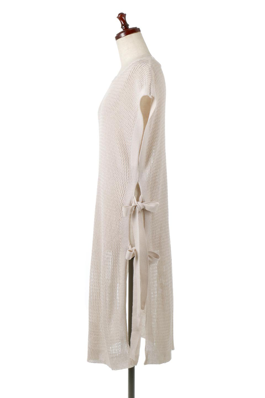 SummerKnitLongVest麻タッチニット・ロングベスト大人カジュアルに最適な海外ファッションのothers(その他インポートアイテム)のトップスやニット・セーター。麻タッチのニット素材が涼し気なロングベスト。ドロップショルダーとサイドのスリットやリボン、可愛いデザインで重ね着も楽しくなります。/main-7