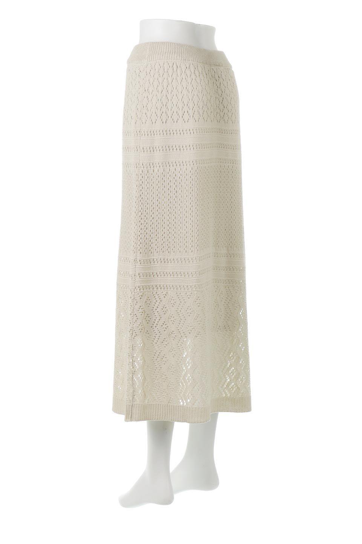 LacyKnitLongSkirt模様編み・ニットスカート大人カジュアルに最適な海外ファッションのothers(その他インポートアイテム)のボトムやスカート。春夏にぴったりな模様編みのロングスカート。着る人を選ばない長さで、シックでもカジュアルでも楽しめます。/main-3