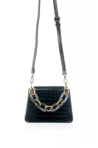海外ファッションや大人カジュアルのためのインポートバッグ、かばんmelie bianco(メリービアンコ)のLoren (Black) チェーンハンドル・型押しミニバッグ