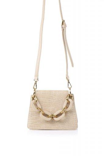 海外ファッションや大人カジュアルのためのインポートバッグ、かばんmelie bianco(メリービアンコ)のLoren (Nude) チェーンハンドル・型押しミニバッグ