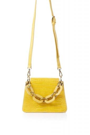 海外ファッションや大人カジュアルのためのインポートバッグ、かばんmelie bianco(メリービアンコ)のLoren (Yellow) チェーンハンドル・型押しミニバッグ