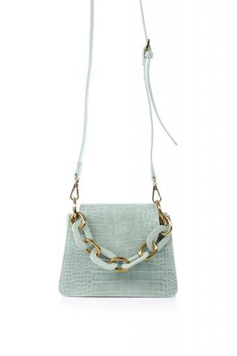 海外ファッションや大人カジュアルのためのインポートバッグ、かばんmelie bianco(メリービアンコ)のLoren (Mint) チェーンハンドル・型押しミニバッグ