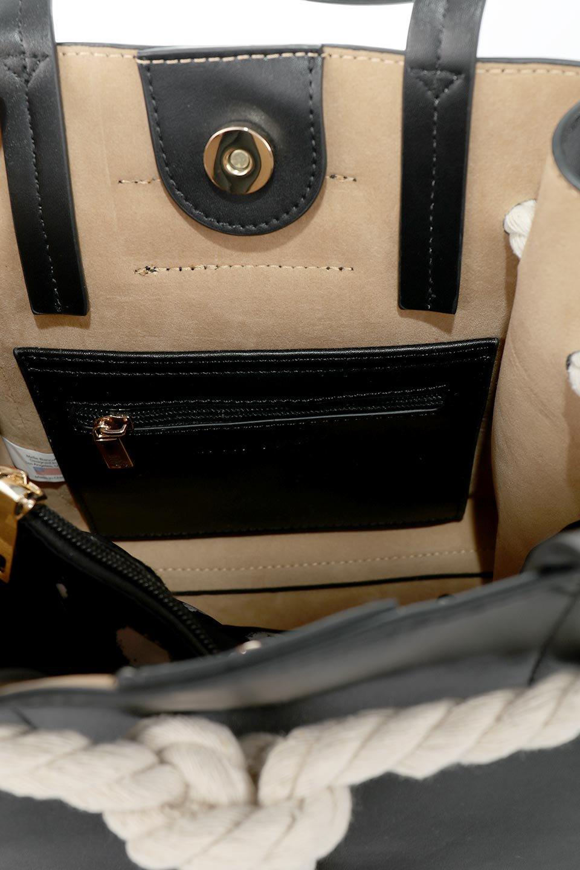 meliebiancoのMonica(Black)ロープモチーフ・トートバッグ/海外ファッション好きにオススメのインポートバッグとかばん、MelieBianco(メリービアンコ)のバッグやトートバッグ。マリンテイストのロープが可愛い巾着タイプのトートバッグ。可愛らしいデザインの中は仕切りを兼ねたポケットが使いやすい便利な構造。/main-14