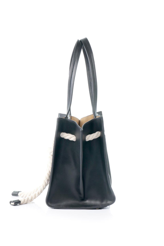 meliebiancoのMonica(Black)ロープモチーフ・トートバッグ/海外ファッション好きにオススメのインポートバッグとかばん、MelieBianco(メリービアンコ)のバッグやトートバッグ。マリンテイストのロープが可愛い巾着タイプのトートバッグ。可愛らしいデザインの中は仕切りを兼ねたポケットが使いやすい便利な構造。/main-2