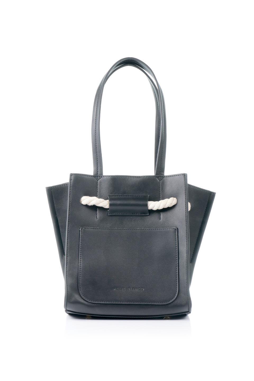 meliebiancoのMonica(Black)ロープモチーフ・トートバッグ/海外ファッション好きにオススメのインポートバッグとかばん、MelieBianco(メリービアンコ)のバッグやトートバッグ。マリンテイストのロープが可愛い巾着タイプのトートバッグ。可愛らしいデザインの中は仕切りを兼ねたポケットが使いやすい便利な構造。/main-4