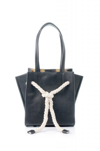 海外ファッションや大人カジュアルのためのインポートバッグ、かばんmelie bianco(メリービアンコ)のMonica (Black) ロープモチーフ・トートバッグ
