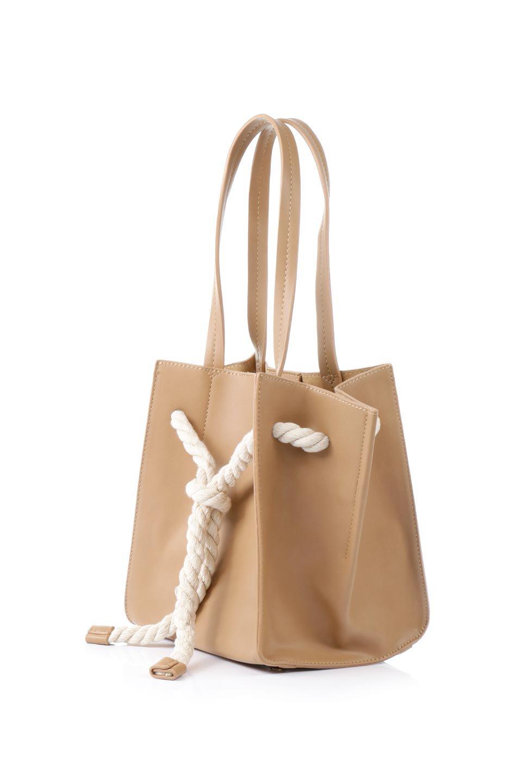 meliebiancoのMonica(Tan)ロープモチーフ・トートバッグ/海外ファッション好きにオススメのインポートバッグとかばん、MelieBianco(メリービアンコ)のバッグやトートバッグ。マリンテイストのロープが可愛い巾着タイプのトートバッグ。可愛らしいデザインの中は仕切りを兼ねたポケットが使いやすい便利な構造。/main-1