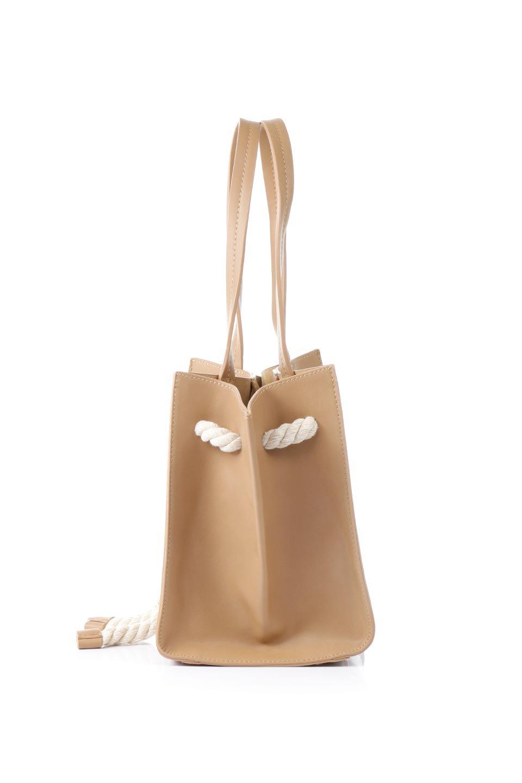 meliebiancoのMonica(Tan)ロープモチーフ・トートバッグ/海外ファッション好きにオススメのインポートバッグとかばん、MelieBianco(メリービアンコ)のバッグやトートバッグ。マリンテイストのロープが可愛い巾着タイプのトートバッグ。可愛らしいデザインの中は仕切りを兼ねたポケットが使いやすい便利な構造。/main-2